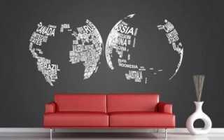 Карта мира на стену: фотообои в интерьере квартиры