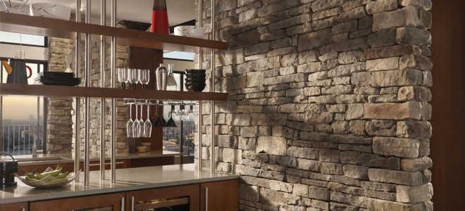 Стены под камень на кухне: как преобразить интерьер