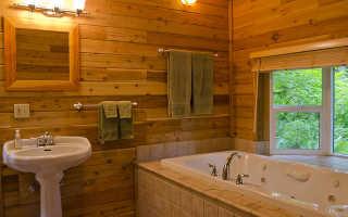 Отделка ванной комнаты деревом: особенности монтажа