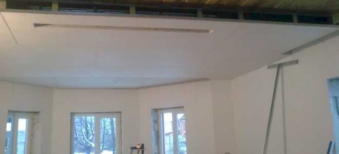 Потолок из гкл в деревянном доме