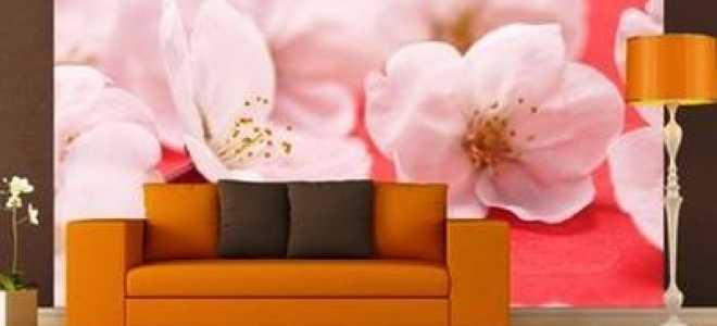 Цветущая сакура фотообои в интерьере